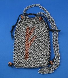 Chainmail Handcrafted Stainless Steel Bag Purse Rune Copper Inlay