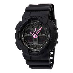 Casio GA100C-1A4 Men's G-Shock Black Ana-Digi Dial Black Resin Strap Alarm Dive Watch,