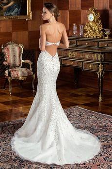 Robe de mariée Sirène Automne Fermeture éclair Naturel taille