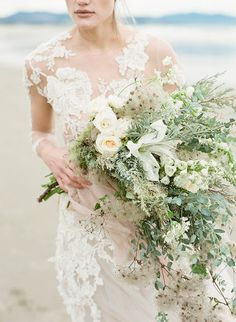 Neutral wedding bouquet - oversized wedding bouquet with green and white flowers {Selva Floral}