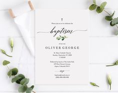 Greenery Baptism Invitation template! Invite your guests in style to your child's baptism ceremony! This invitation is a printable template which you can instantly download, edit and print yourself (or at a local copy shop or online print vendor). It's super-easy and quick to do! Click through for more options + styles #baptism #greenerybaptism #baptismprintable #baptisminvitation #baptisminvite Baptism Invitations, Printable Wedding Invitations, Photo Center, Text Color, Marry Me, Save Yourself, Colorful Backgrounds, Greenery