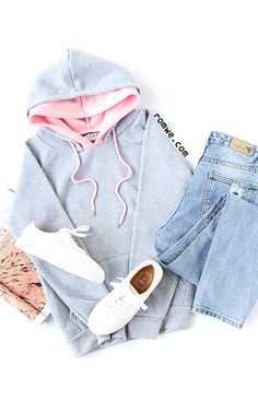 Grey Raglan Sleeve Drawstring Hooded Sweatshirt With Contrast Lining with blue denim and white sneakers from romwe.com