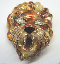 Antique Guilliche Enamel Diamond Lion Lapel Pin 18K Art Deco Vintage Estate RARE