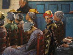 14 september 2010, Laren    Detail van De preek (1886) van Gari Melchers op de tentoonstelling Dutch Utopia, tot en met 17 januari in het Singermuseum. De aandacht van de kerkgangers in de kerk van Egmond-Binnen is gericht op een predikant net buiten beeld, maar het verhaal richt zich op het slapende meisje en haar fronsen de buurvrouw. #NoordHolland #Egmond #hul