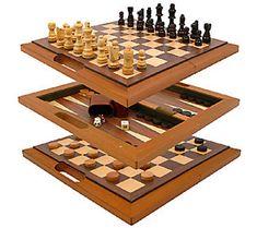 3-in-1 Deluxe Wooden Game Set