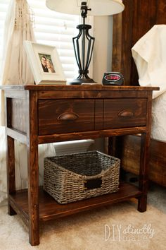 DIY Farmhouse Bedside Table - 2 tables for less than $90! - easy plans | DIYstinctlyMade.com