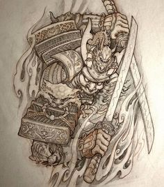 Samurai tattoo design by Japanese Dragon Tattoos, Japanese Tattoo Art, Japanese Tattoo Designs, Japanese Warrior Tattoo, Asian Tattoos, 3d Tattoos, Sleeve Tattoos, Tattoo Ink, Samurai Drawing