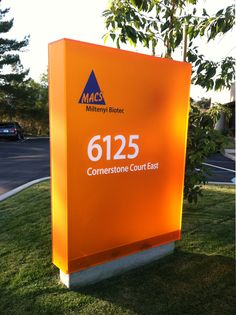 What a gorgeous shade of orange for this acrylic monument sign.