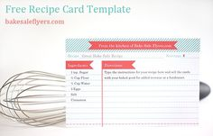 Free Recipe card template, you can type in your recipe in Microsoft Word  | followpics.co