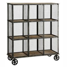 Industrial Metal and Wood Bookcase - bookcase ideas, bookcase design, bookcase clipart Industrial Apartment, Industrial Interior Design, Industrial Living, Industrial Furniture, Industrial Metal, Industrial Decorating, Vintage Industrial, Industrial Style, Cube Bookcase