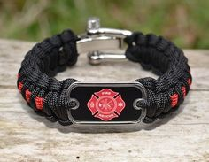 survival strap. unravels for a paracord, supports those in uniform--military, police, ems, firefighters--and raises $$ for the wounded warrior project. they have many different styles.  Loves, great way to show support!