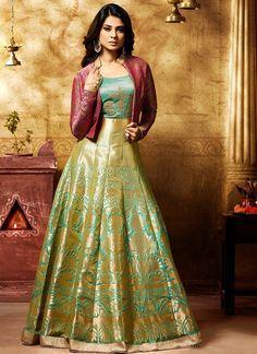 Green Blue and Pink Embroidered Banarsi Silk Anarkali