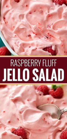 This make-ahead raspberry fluff jello salad dessert is made by using just a few . This make-ahead raspberry fluff jello salad dessert is made by using just a few ingredients and is perfect for potlucks and summer bbq& Fluff Desserts, Jello Desserts, Dessert Salads, Fruit Salad Recipes, Delicious Desserts, Just Desserts, Yummy Food, Birthday Desserts, Recipe For Jello Salad