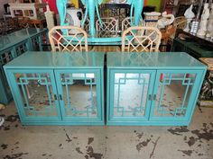 Pair of Key West Blue FRETWORK Cabinets :)