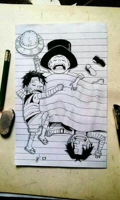 Ace, Luffy, Sabo, brothers, cute, funny, drawing, sleeping, young, childhood; One Piece
