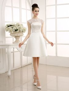 Vestido de novia con escote redondo adornado de encaje Milanoo