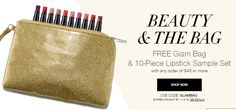 Beauty & the BAG! Shop PJ's Avon Online to receive this FREE gift with the purchase of $45+ Direct Delivery Online. Use Code: GLAMBAG Expires 11/3/2016 Midnight, ET. Visit Us Online at www.youravon.com/pjack