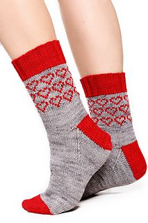 Valentine's Heart Socks pattern by Alissa Barton