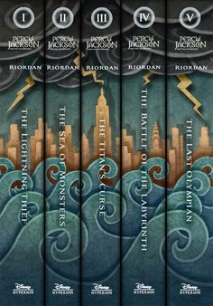 """Putting the PJO covers in one massive mural of epicness. And yes, even the spines go together!"""