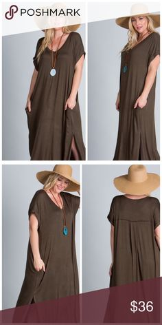 Olive Maxi With Side Slits Olive Maxi has short sleeves with narrow folded cuffs and side pockets. Pleat detail on upper back, slips over head. EVIEcarche Dresses