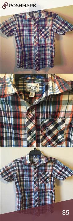 Blue Plaid Dress Shirt This short sleeve shirt is in excellent condition!! I'm having a huge sale on kids clothes, so check out my closet and the kids sale listing for directions on how to get 40% off bundles of 2+. Children's Place Shirts & Tops Button Down Shirts