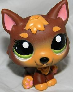 Littlest Pet Shop CHOCOLATE GERMAN SHEPHERD Puppy 2137 Gold Black Brown Dog wolf