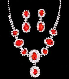 Ruby Red Clear Crystal Rhinestone Oval Stone Formal Evening Bridal Wedding Silver Tone Necklace Set Elegant Costume Jewelry