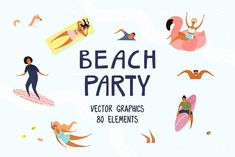Beach Party, Summer Vector Art by sceptical cactus on @creativemarket