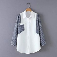Striped Contrast Splicing Sleeve Long Irregular Women'S Shirt Lapel Single-Breasted Double-Pocket Office Summer 2019 Top WHITE S Muslim Fashion, Modest Fashion, Hijab Fashion, Boho Fashion, Fashion Dresses, Womens Fashion, Fashion Design, New Blouse Designs, Collars For Women