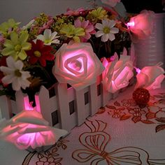 Battery Operated 2M 20 LED Solar String Lights Blossom Rose Flower Fairy Light for Christmas Garden Indoor Wedding Party Patio Decoration , Pink *** You can get additional details at
