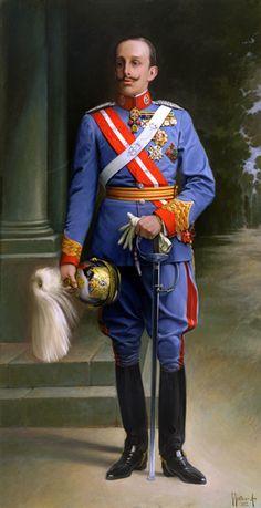 Juan Francés Y Mexias (Madrid, 1873 - 1954) Alfonso XIII con Uniforme General de Cabellería