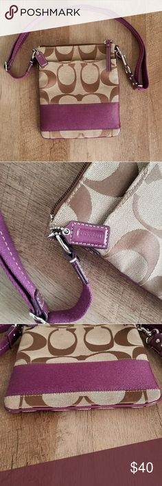 Crossbody Classic C Bag NWOT Coach Crossbody featuring Purple Accents. Absolutely Authentic, Brand New.   Has 2 Slight Scuffs to the bottom, not at  all noticeable, shown in last picture. I believe they are from being stored ikn the closet.    Feel free to make me a reasonable offer. I also do deals on bundles! Coach Bags Crossbody Bags