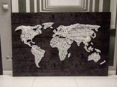 Black & White, 150 x 100 cm Map Nails, Me On A Map, String Art, Maps, Moose Art, Black And White, Deco, World, Handmade