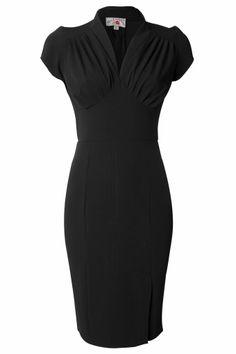 344f4f07f15f8f Miss Candyfloss - 50s Mavis black pencil dress Vintage Jurken