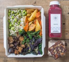 Glazed Aubergine Bowl:  Miso and sesame glazed aubergine Roasted root vegetables with ginger and cumin A brown rice, chili and edamame salad Sesame marinated kale | Mae Deli