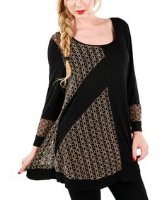 Look at this #zulilyfind! Beige & Black Crochet Panel Tunic by Lily #zulilyfinds