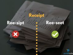 Receipt Pronunciation | | Correct Pronunciation of commonly mispronounced words