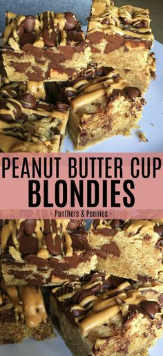 Peanut Butter Cup Blondies - Peanut butter cookie base topped with chocolate chips and peanut butter cups, a dessert for all my fellow peanut butter lovers!