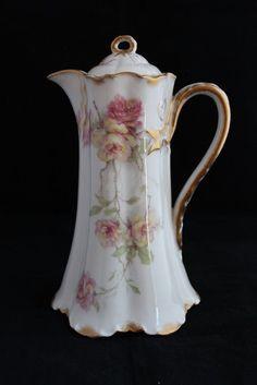 Haviland Limoges Baltimore Rose LG Chocolate Coffee Pot Pink Yellow Gold