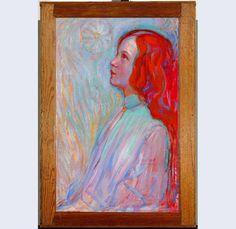Mondriaan, Devotie @gemeentemuseum: felrode haar wordt krachtiger door zachte blauwgroen. Complementair contract #kleur #schildercursus jan2013