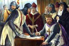 Représentation artistique du roi John signant à contrecœur la Magna Carta, supervisée par les barons et les abbés.