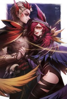 Xayah and Rakan by 벱세오 - League of Legends