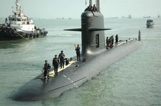 A French DCNS designed Scorpene class submarine, in 2009 at the naval base in Pulau Indah, Malaysia.
