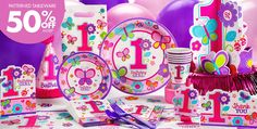 Butterfly first birthday party decor from Party City. It's PERFECT!!