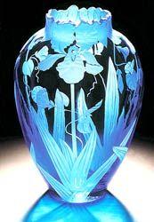 Iris and Morning Glories glass art by Cynthia Myers