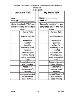 Here's a checklist for students to track their use of different strategies during math talk.