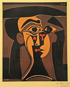 Picasso at The Metropolitan Museum of Art. Jacqueline in a Black Hat,1962, Linoleum cut by renzodionigi, via Flickr