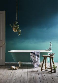 27 Inspirational Bathroom Color Ideas Annie Sloan Bathroom Ombre Aubusson Blue Wall Paint and Provence Chalk Paint bath in Provence Chalk Paint. Small Bathroom Paint, Bathroom Colors, Small Bathrooms, Kitchen Paint, Tranquil Bathroom, Bathroom Green, Master Bathroom, Green Paint Colors, Wall Colors