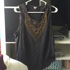 Urban Outfitters Grey Beaded Tank Grey cropped tee with beaded design from urban. Never worn; perfect condition and no damage. No trades but open to offers! Urban Outfitters Tops Tank Tops