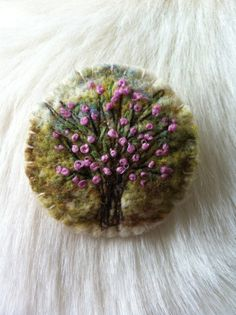 Original - Needle Felted Wool Brooch - Tree with Spring Blossom